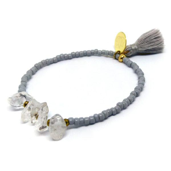 Yogaschmuck, Armband, Bracelet, Wundervoll, Miyuki, Bergkristall, Tassle, Quaste, handmade