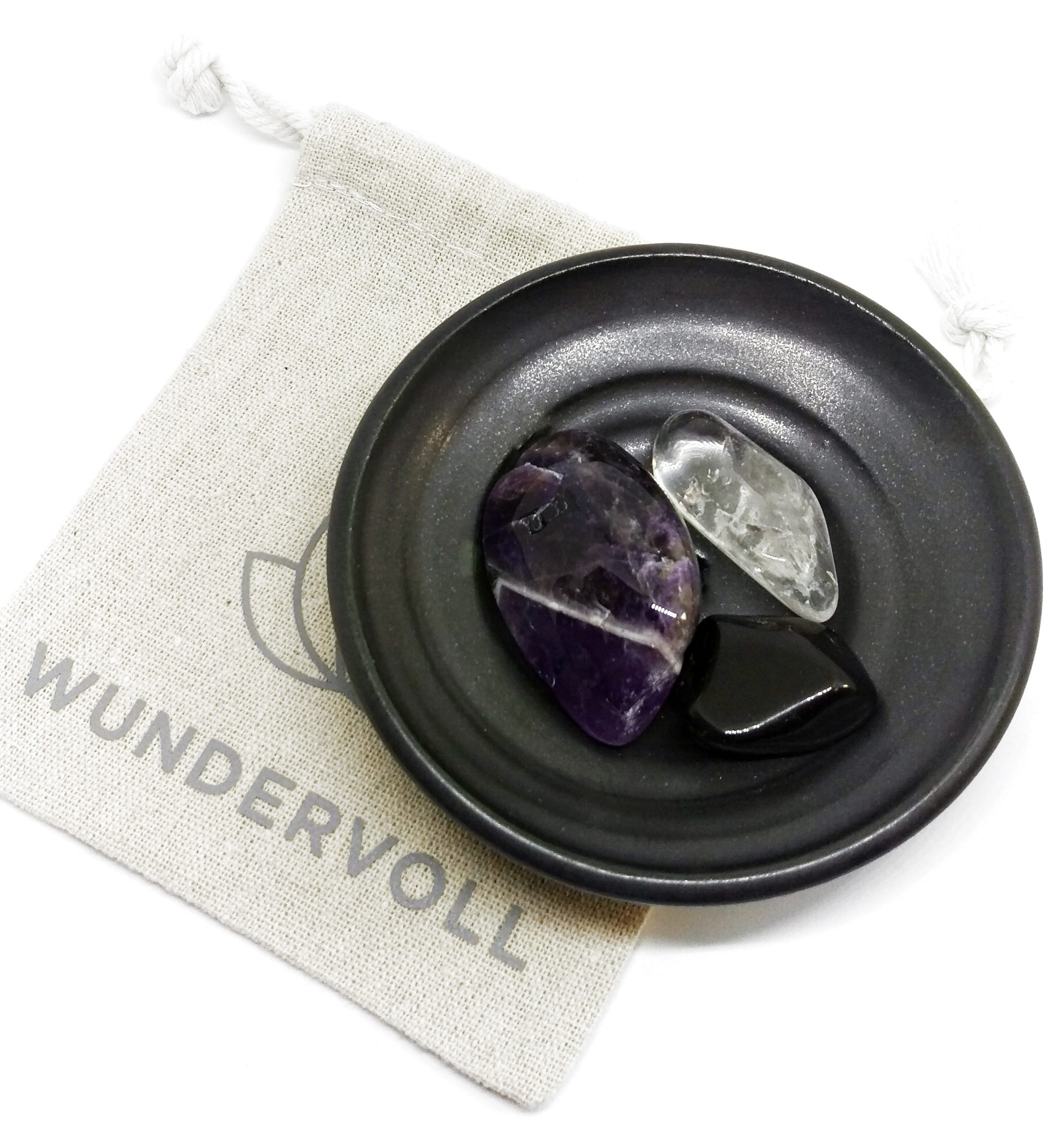 BE Wundervoll Bowl Healingstones Love Light Turmalin Rosenquarz Amethyst Bergkristall Keramik handmade