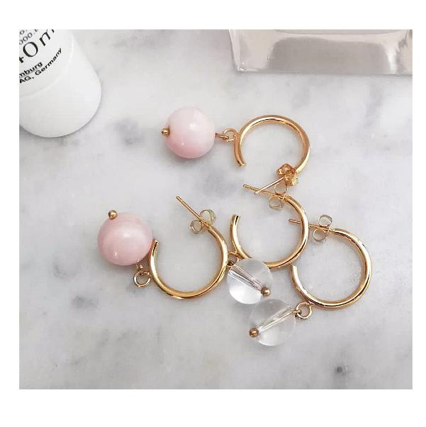 BELLE Creolen Gold Pink Jade Wundervoll